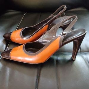 Coach two tone sling back shoes